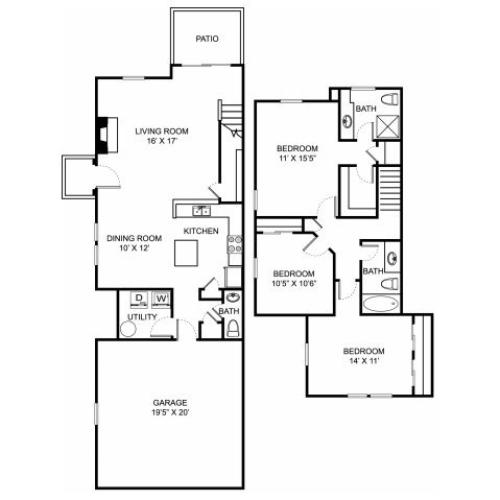 Three bedroom two bathroom C2TH floorplan at The Residence at Barrington Apartments in Aurora, OH