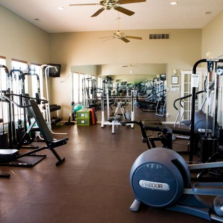 Fitness center at Steeplechase at Shiloh Crossing Apartments in Avon, IN