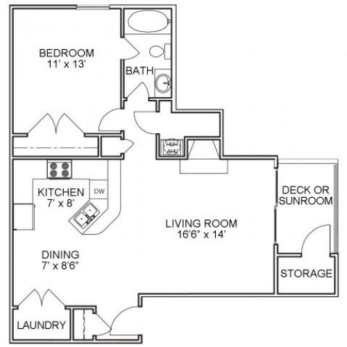One bedroom one bathroom A1 floorplan at The Belvedere Apartments in North Chesterfield, VA