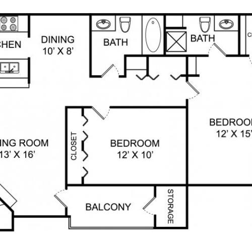 Two bedroom two bathroom B1 floorplan at The Landings at the Preserve Apartments in Battle Creek, MI