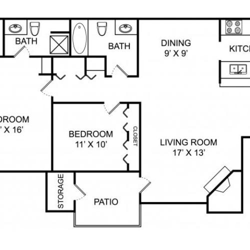 Two bedroom two bathroom B2 floorplan at The Landings at the Preserve Apartments in Battle Creek, MI