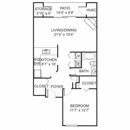 One bedroom one bathroom A1 floorplan at Spring Valley Apartments in Farmington Hills, MI