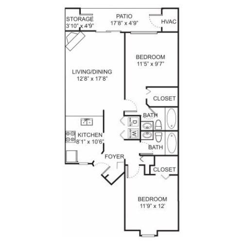 Two bedroom two bathroom B1 floorplan at Spring Valley Apartments in Farmington Hills, MI