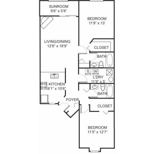 Two bedroom two bathroom B2 floorplan at Spring Valley Apartments in Farmington Hills, MI