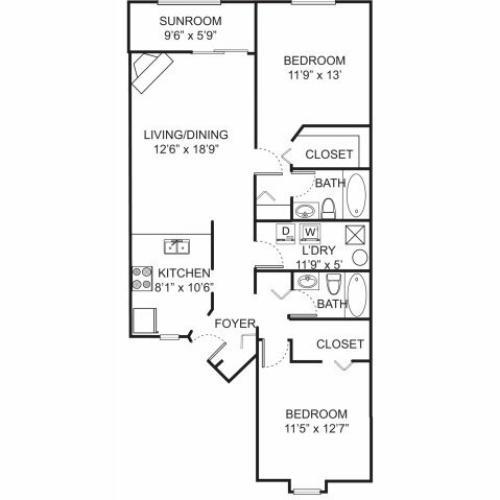 Two bedroom two bathroom B2 floorplan at Spring Valley Apartments in Farmington Hills, MI