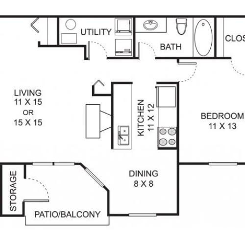 One bedroom one bathroom A1 floorplan at Summer Ridge Apartments in Kalamazoo, MI