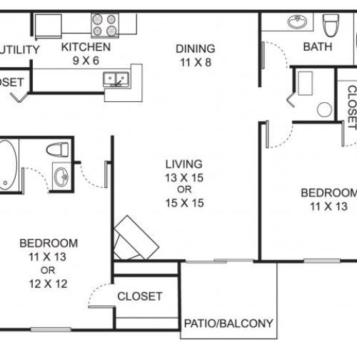 Two bedroom two bathroom B2 floorplan at Summer Ridge Apartments in Kalamazoo, MI