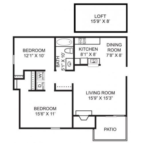Two bedroom one bathroom B4L Floorplan at Mallard\'s Crossing Apartments in Medina, OH