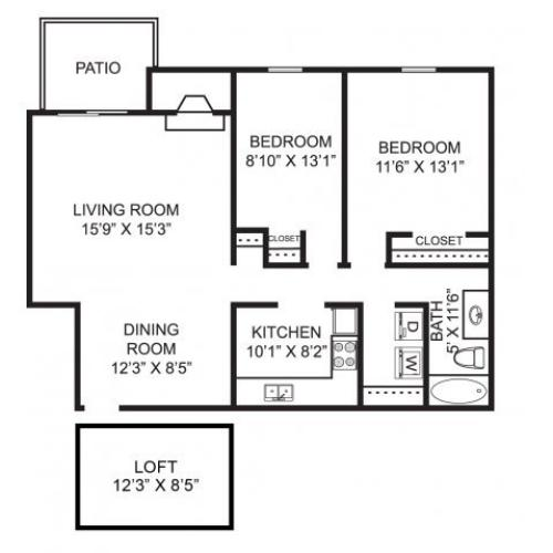 Two bedroom one bathroom B5L Floorplan at Mallard\'s Crossing Apartments in Medina, OH