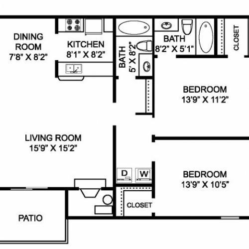 Two bedroom two bathroom B3 Floorplan at Mallard\'s Crossing Apartments in Medina, OH