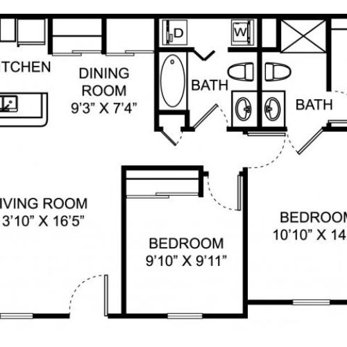 Two bedroom two bathroom B1 floorplan at The Village of Western Reserve Apartments in Streetsboro, OH