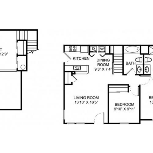 Two bedroom two bathroom B2L floorplan at The Village of Western Reserve Apartments in Streetsboro, OH