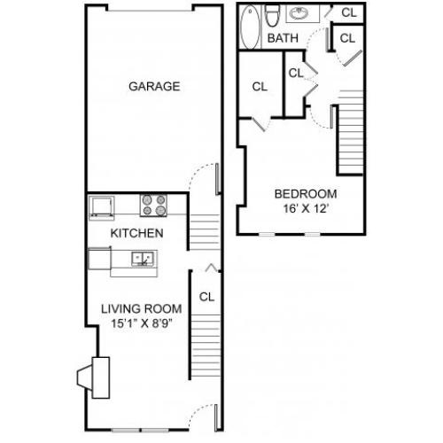 One bedroom one bathroom A1TH floorplan at Williamsburg Townhomes Rental Homes in Sagamore Hills, OH