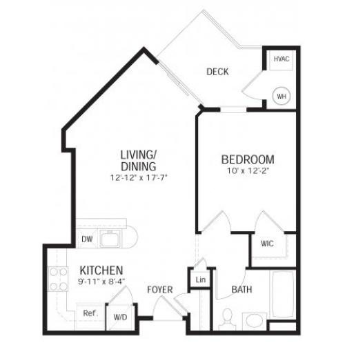 One bedroom one bathroom A1 Floorplan at Dwell Vienna Metro Apartments in Fairfax, VA