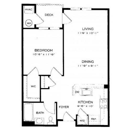 One bedroom one bathroom A2 Floorplan at Dwell Vienna Metro Apartments in Fairfax, VA