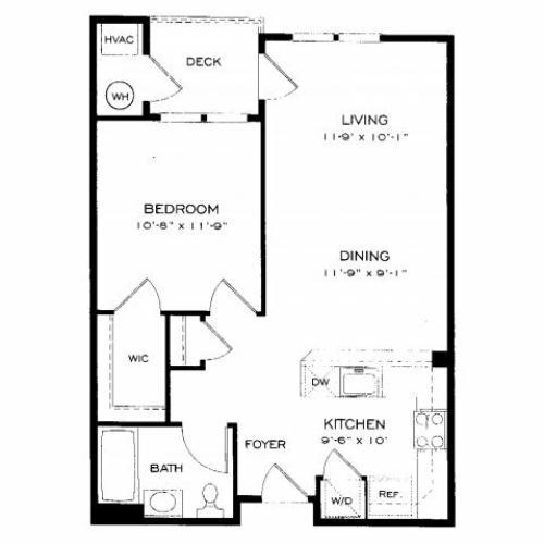 One bedroom one bathroom A2 Floorplan at Dwell Vienna Metro Apartments in Fairfax, VA
