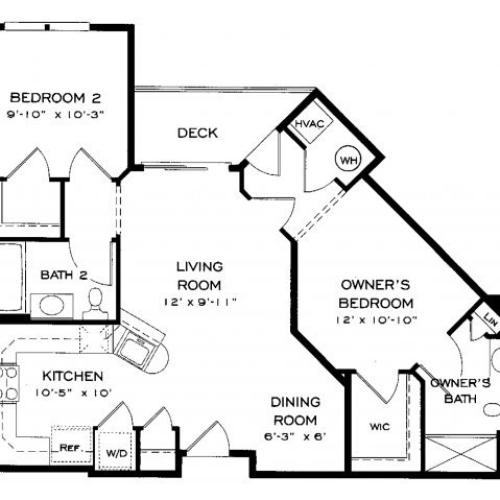 Two bedroom two bathroom B2 Floorplan at Dwell Vienna Metro Apartments in Fairfax, VA