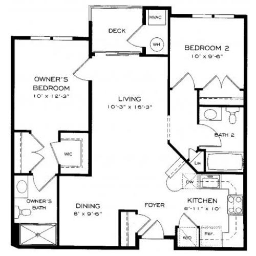 Two bedroom two bathroom B3 Floorplan at Dwell Vienna Metro Apartments in Fairfax, VA