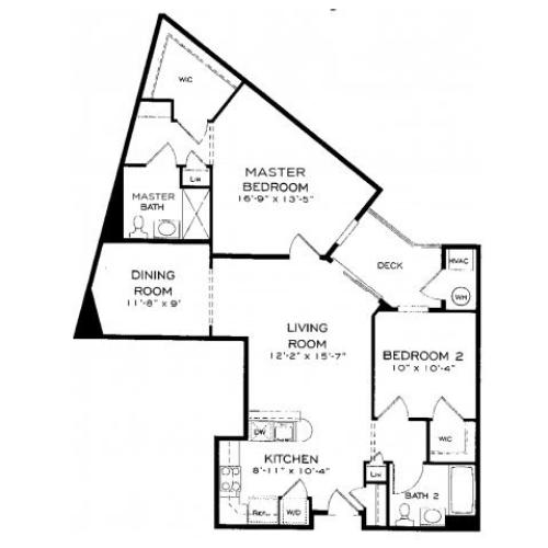 Two bedroom two bathroom B6 Floorplan at Dwell Vienna Metro Apartments in Fairfax, VA