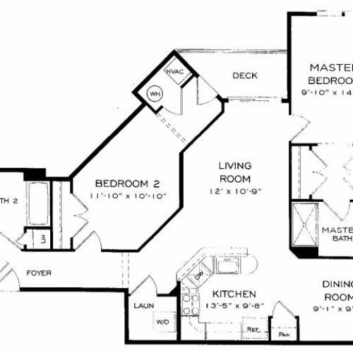 Two bedroom two bathroom B8 Floorplan at Dwell Vienna Metro Apartments in Fairfax, VA