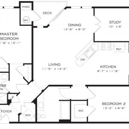 Two bedroom two bathroom B9DEN Floorplan at Dwell Vienna Metro Apartments in Fairfax, VA