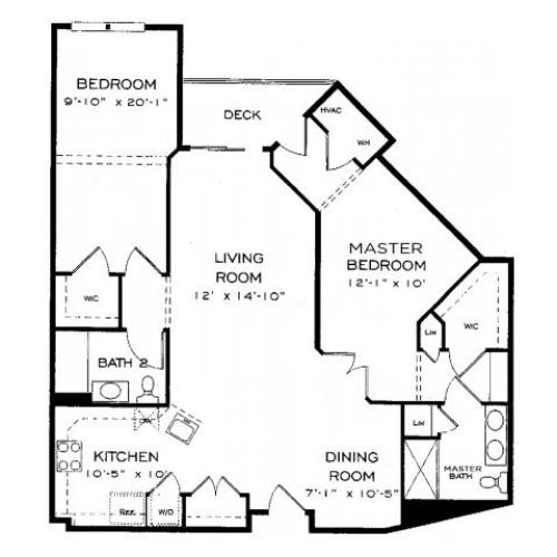 Two bedroom two bathroom B10 Floorplan at Dwell Vienna Metro Apartments in Fairfax, VA