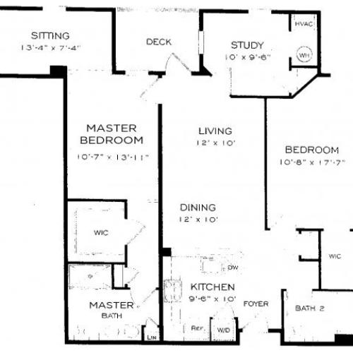 Two bedroom two bathroom B11DEN Floorplan at Dwell Vienna Metro Apartments in Fairfax, VA