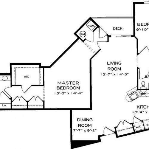 Two bedroom two bathroom B12 Floorplan at Dwell Vienna Metro Apartments in Fairfax, VA