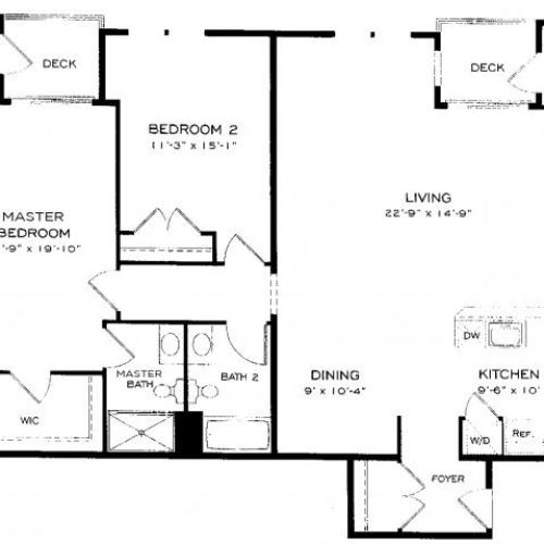 Two bedroom two bathroom B13 Floorplan at Dwell Vienna Metro Apartments in Fairfax, VA