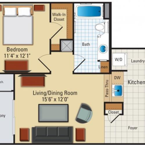 One bedroom one bathroom A1 Floorplan at Riverside Station Apartments in Woodbridge, VA