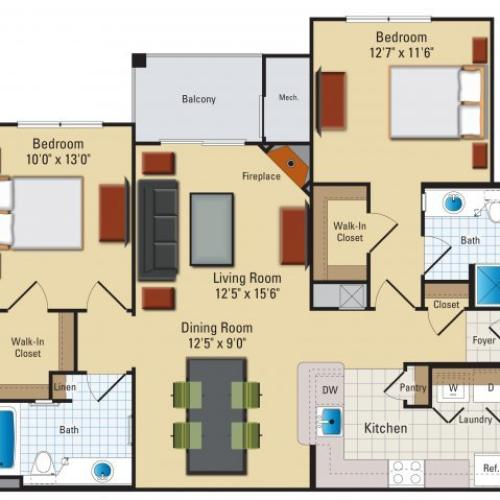 Two bedroom two bathroom B4 Floorplan at Riverside Station Apartments in Woodbridge, VA
