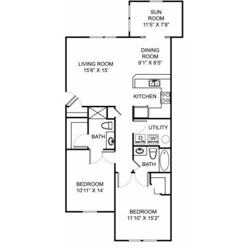 Two bedroom two bathroom B2 floorplan at The Village at Avon Apartments in Avon, OH