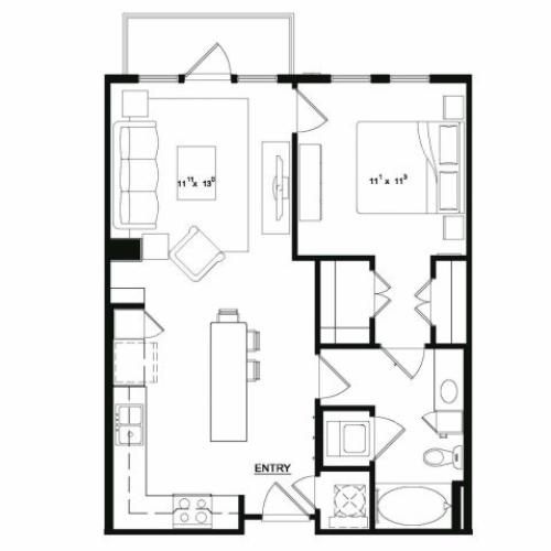 One bedroom one bathroom A2 floor plan at Cantabria at Turtle Creek Apartments in Dallas, TX