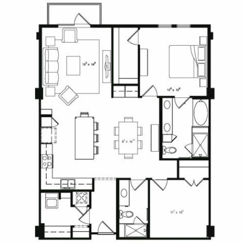 Two bedroom two bathroom A8 floor plan at Cantabria at Turtle Creek Apartments in Dallas, TX