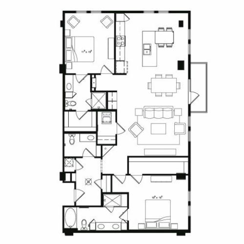Two bedroom two and a half bathroom B6 floor plan at Cantabria at Turtle Creek Apartments in Dallas, TX
