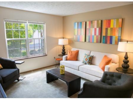 Living room at Lake Forest Apartments in Westerville, OH.