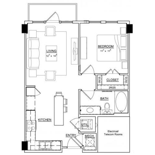 One bedroom one bathroom A1 floor plan at Cantabria at Turtle Creek Apartments in Dallas, TX