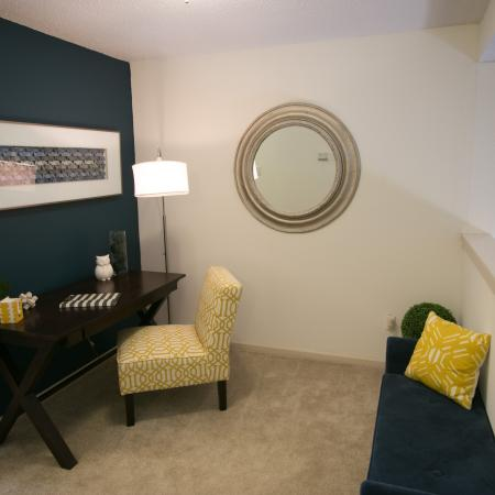 Open loft space ideal for a home office at Williamsburg Townhomes Rental Homes in Sagamore Hills, OH