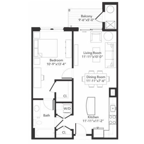 One bedroom one bathroom A5 floorplan at 7001 Arlington in Bethesda, MD