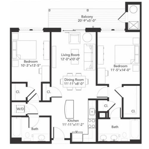 Two bedroom two bathroom B2 floorplan at 7001 Arlington in Bethesda, MD