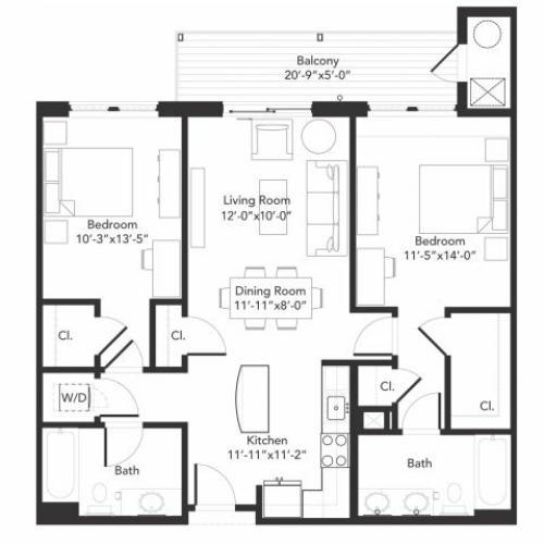 Two bedroom two bathroom B2 floorplan at 7001 Arlington in Bethesda, MD