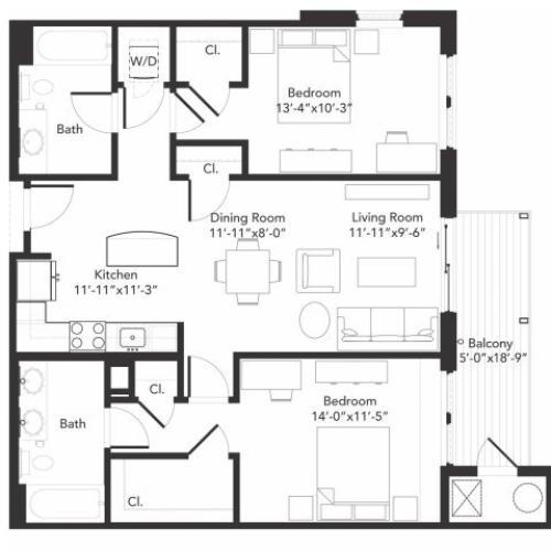 Two bedroom two bathroom B3 floorplan at 7001 Arlington in Bethesda, MD