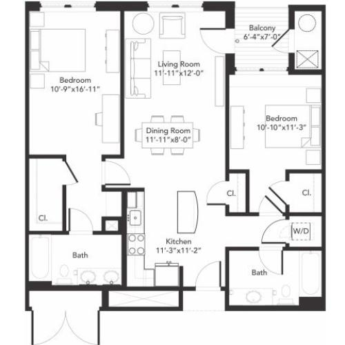 Two bedroom two bathroom B5 floorplan at 7001 Arlington in Bethesda, MD