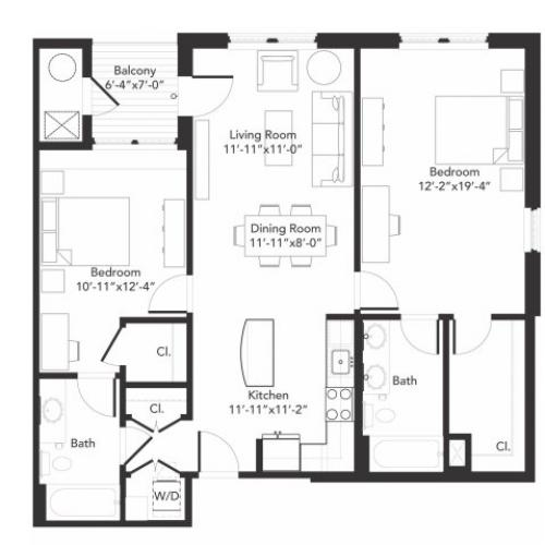 Two bedroom two bathroom B6 floorplan at 7001 Arlington in Bethesda, MD