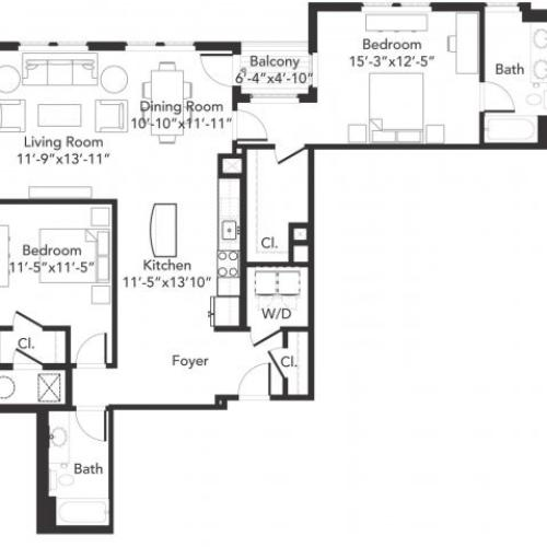 Two bedroom two bathroom B8 floorplan at 7001 Arlington in Bethesda, MD