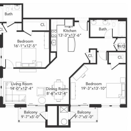 Two bedroom two bathroom B9 floorplan at 7001 Arlington in Bethesda, MD