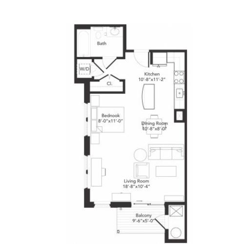 Studio one bathroom S1 floorplan at 7001 Arlington in Bethesda, MD
