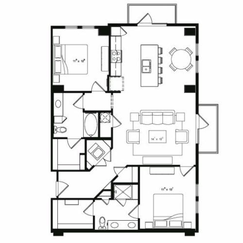 Two bedroom two bathroom B4 floor plan at Cantabria at Turtle Creek Apartments in Dallas, TX