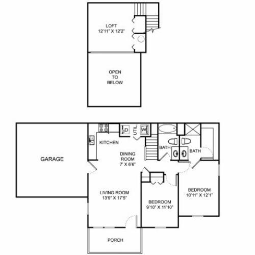 Two bedroom two bathroom B3THL floorplan at The Village at Avon Apartments in Avon, OH