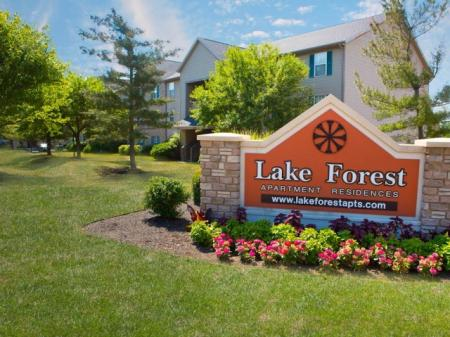 Exterior signage at Lake Forest Apartments in Westerville, OH.
